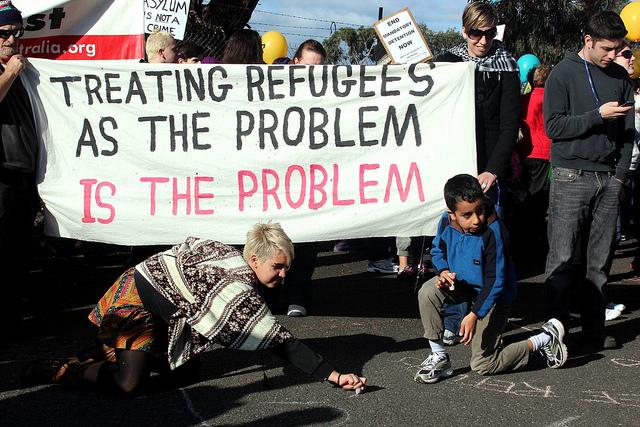 Protest against Australian mandatory detention policy in 2011 / Photo by  John Englart