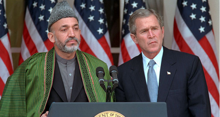 Hamid Karzai and George W. Bush - Photo Credit: Paul Morse