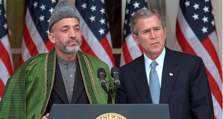 Hamid Karzai and George W. Bush - Photo Credit: Paul Morse
