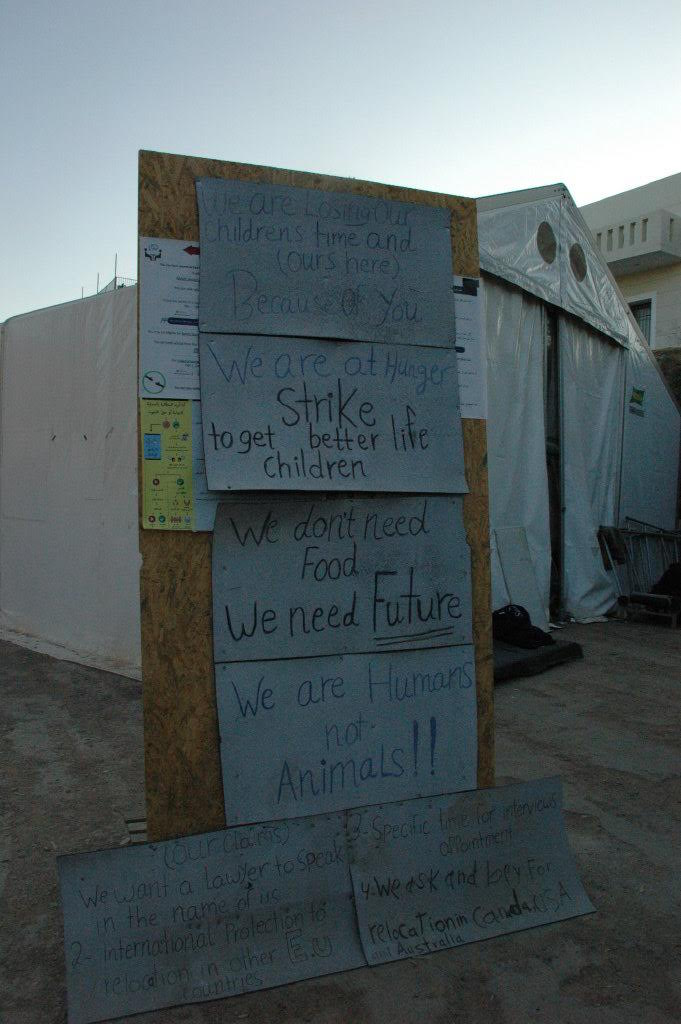 Grievences stated by hunger strikers at Souda refugee camp / Photo credit: Kimberly Curtis