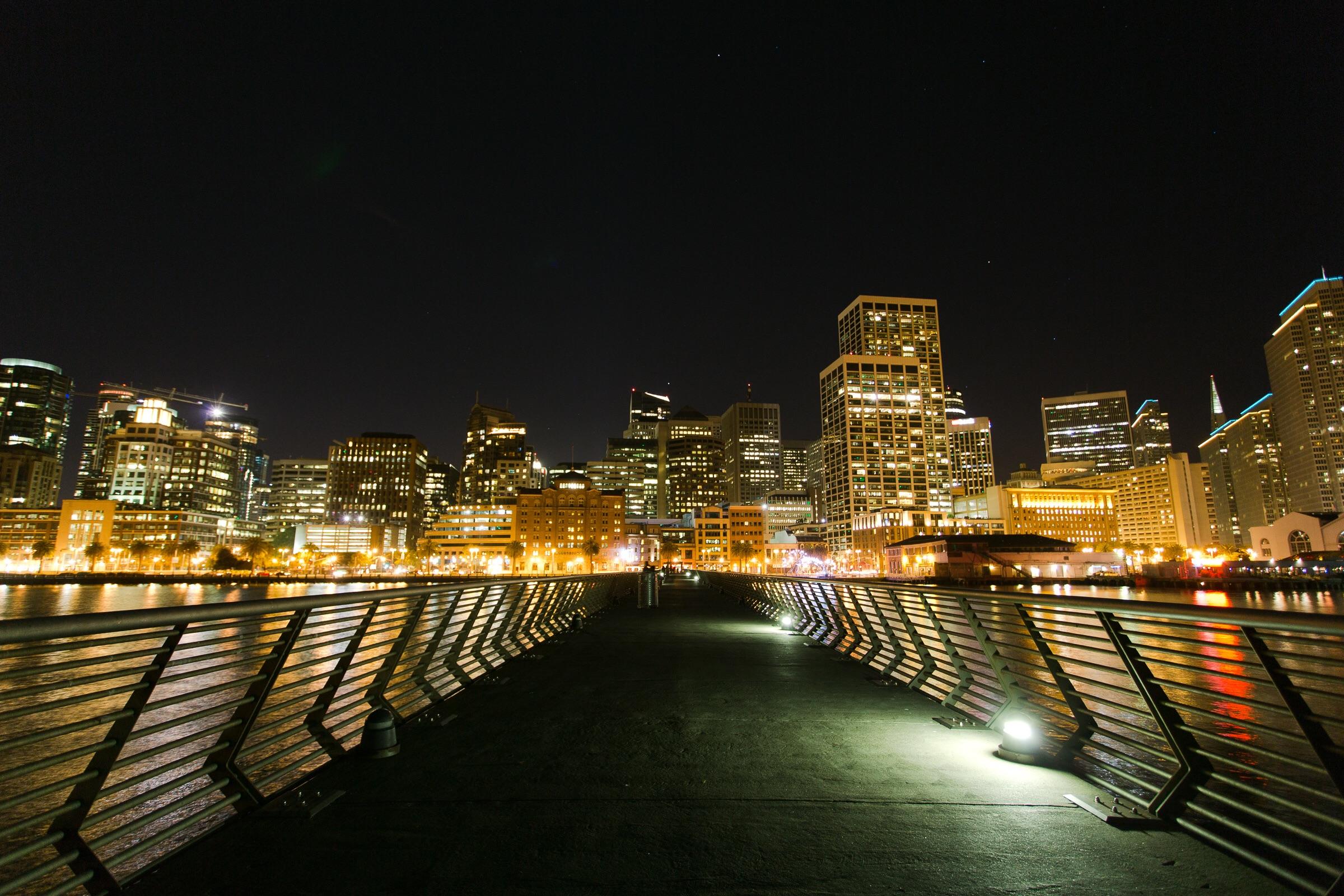 Pier 14 in San Francisco night skyline. Canon 17mm, 8 sec exposure.