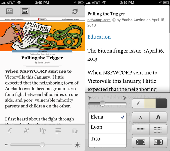 Pocket's in-article settings (left) vs. Instapaper's (right)