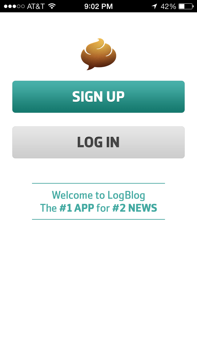 The Log in/Sign up screen in LogBlog