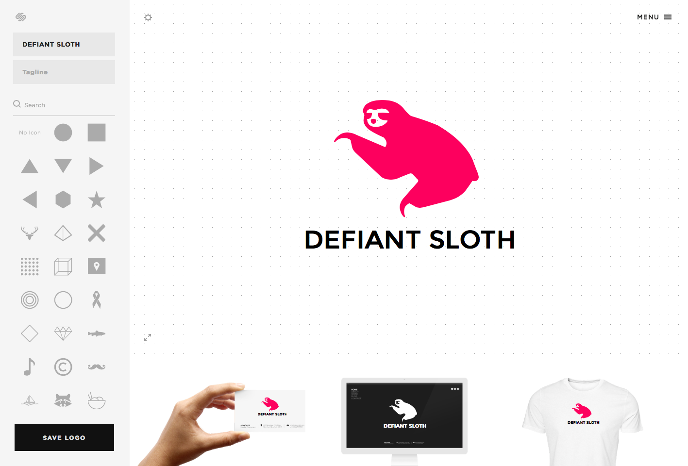 My editing canvas for Defiant Sloth's new logo. Squarespace shows what the logo looks like across a few physical objects, too, like a business card and t-shirt. Nice details.