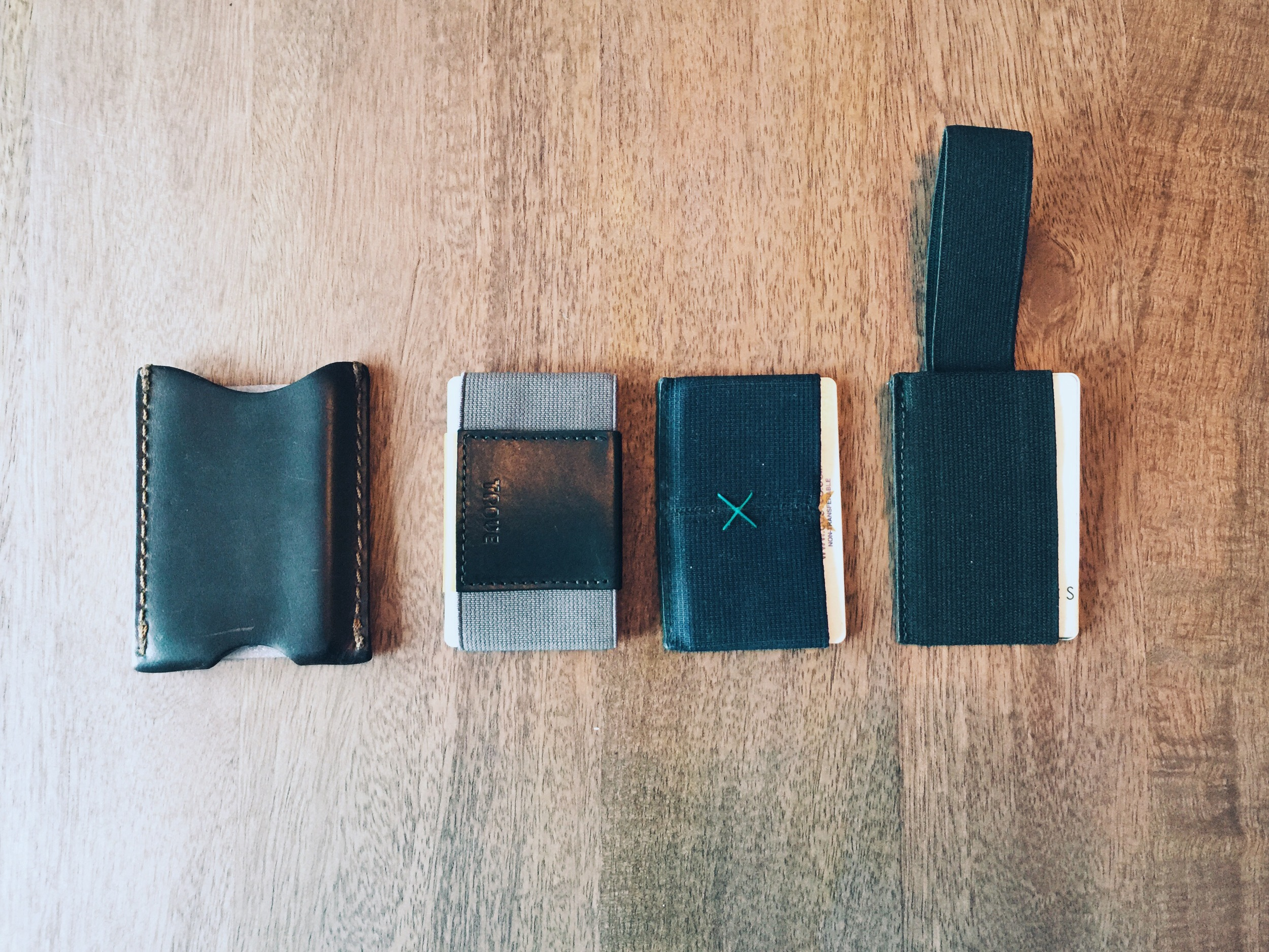 The Trove and its competitors (from left to right): Saddleback Sleeve Wallet, Trove Factory Edition, Supr Slim Wallet, and Snapback Wallet 2.