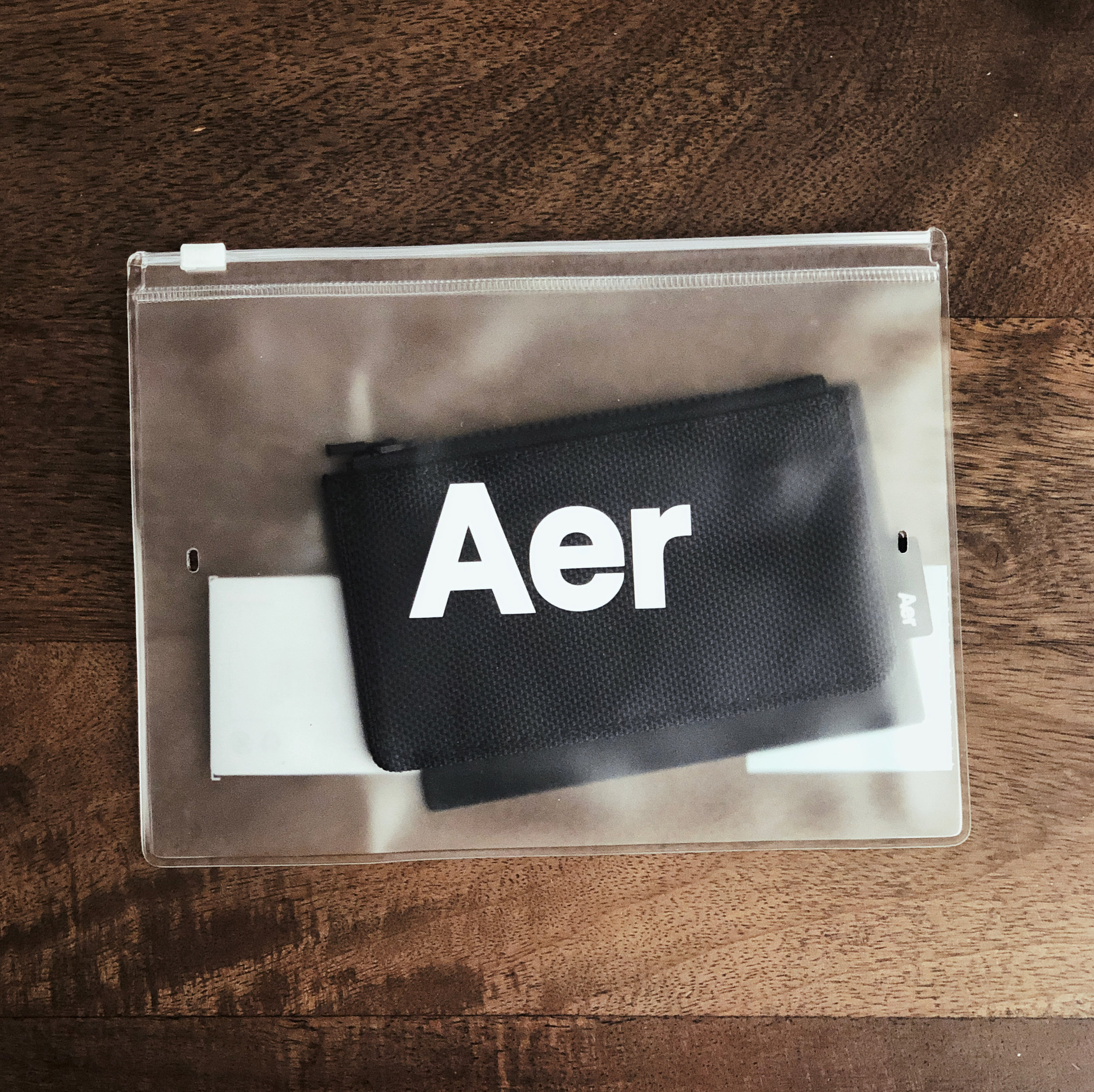 The Aer Cardholder as it arrives in its zippered plastic packaging