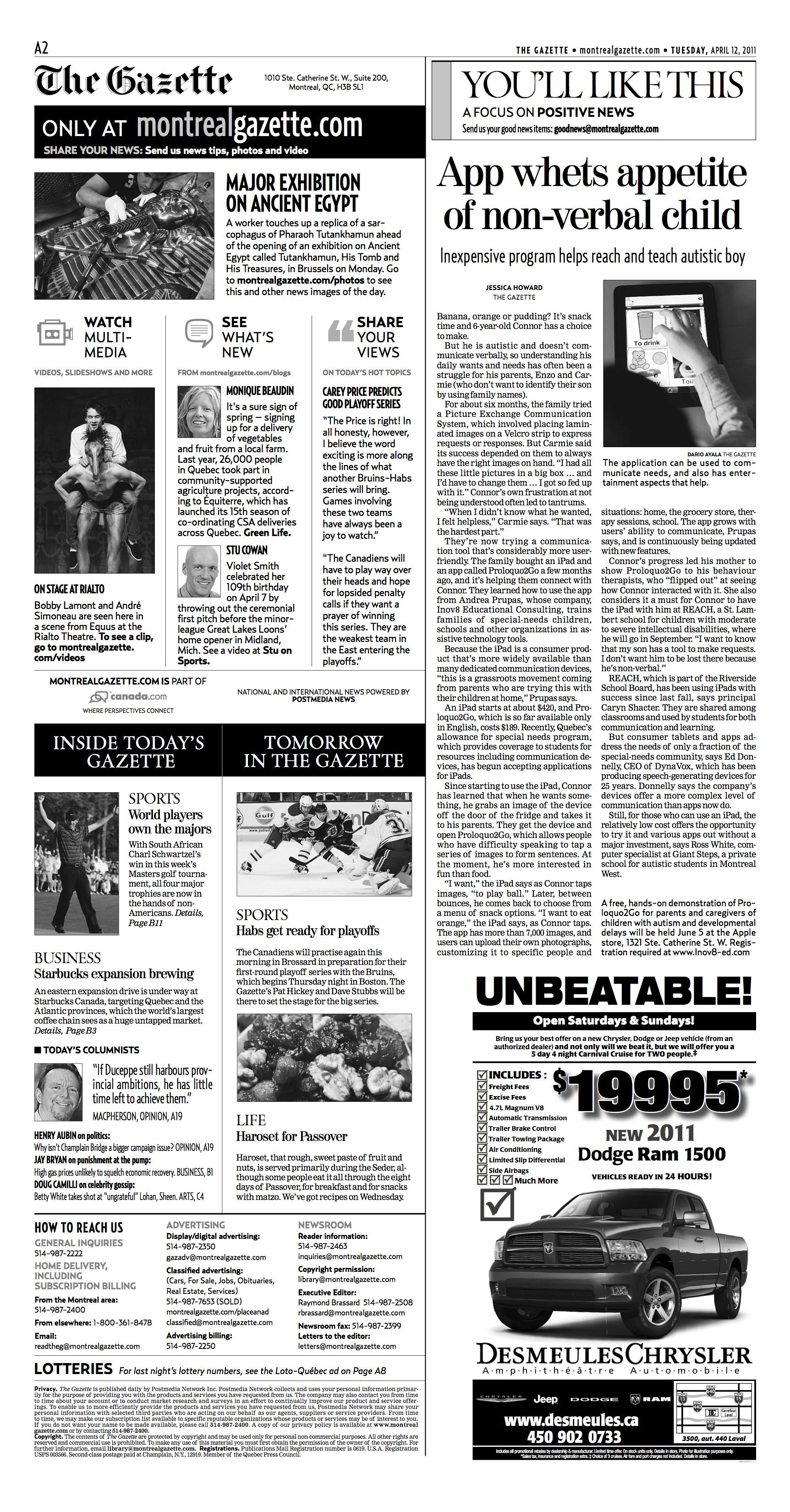 Montreal Gazette, April 2011