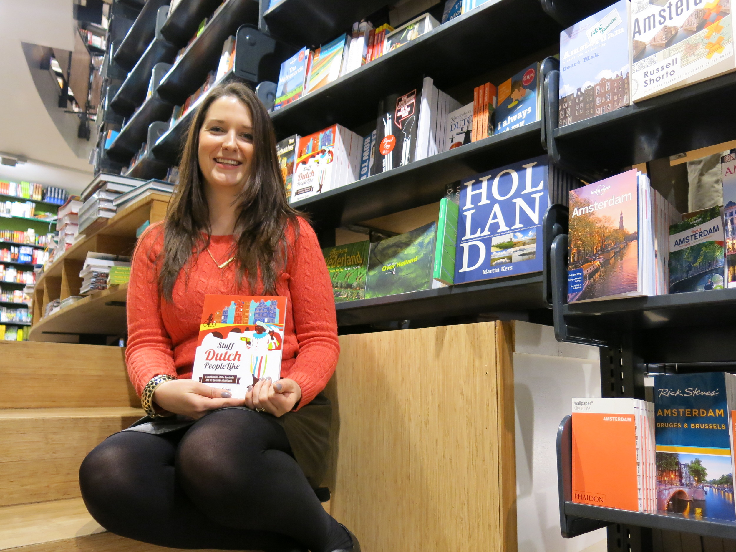 Colleen Geske, author of Stuff Dutch People Like, at the American Book Centre in Amsterdam. Geske, a Canadian who has lived in Holland for almost 10 years, self-published the book in November 2013, and has since struck a deal to have the book published in Dutch. Photo: Jessica Howard