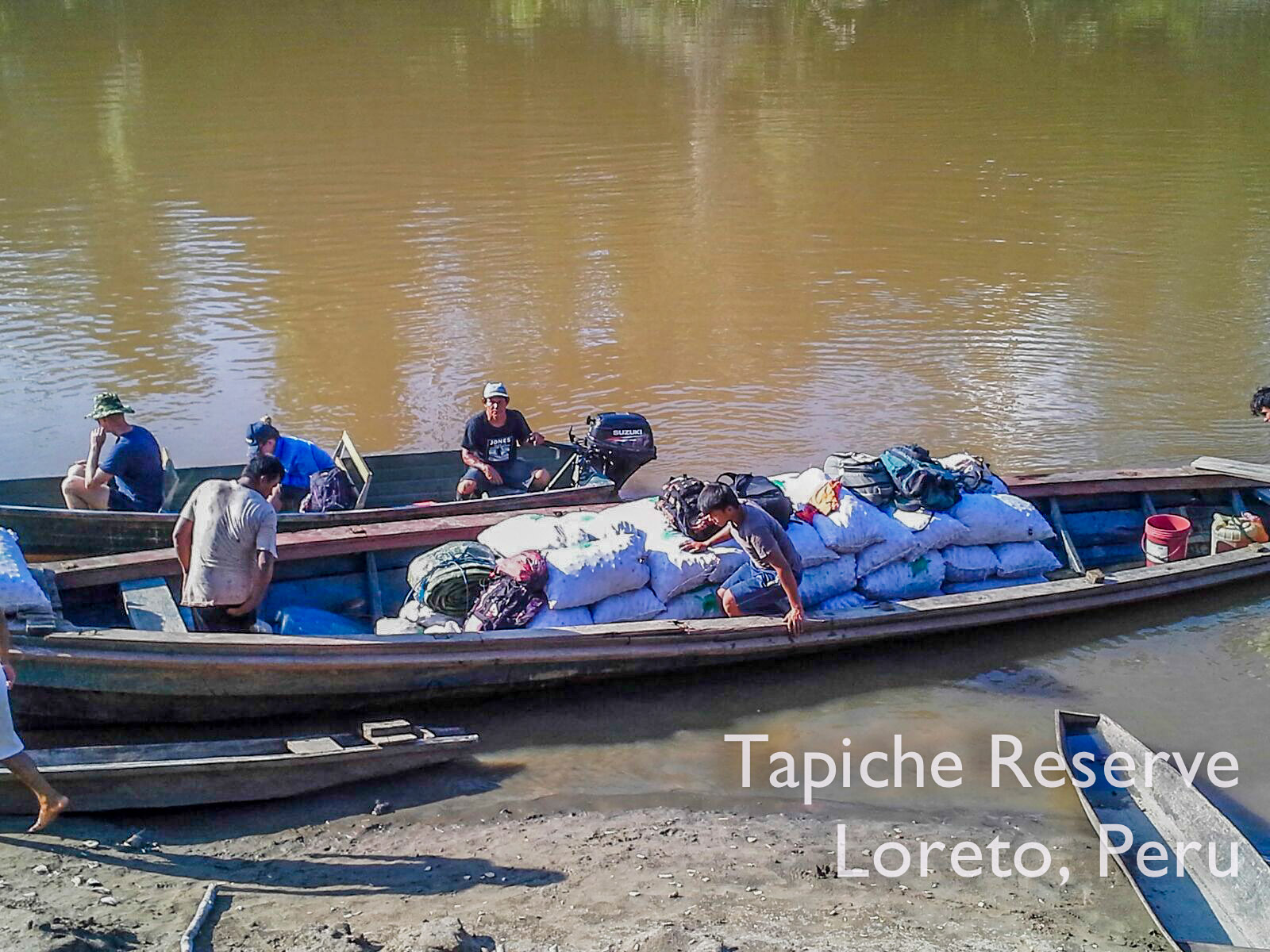 Aguaje fruits loaded onto the boat at the Tapiche Reserve, ready to go to market in Iquitos