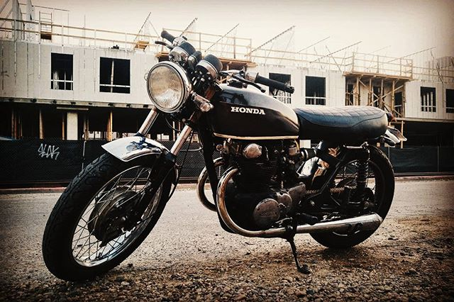 """My """"new"""" 1974 Honda CB450. I had seen this bike on Craigslist and was going back and forth with the owner but was surprised to see it parked outside a coffee shop one morning. When the owner came out I said """"Did you post this on Craigslist?"""" and she said """"Are you Noah???"""" Wow. What a small world. A new chain, some electric rewiring and a chopped off fender later I have this beauty of a ride."""