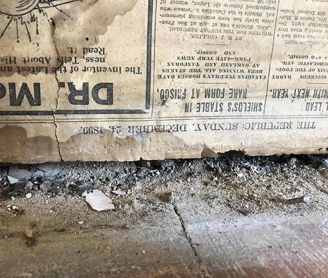 Newspaper 📰 on the walls dated Sunday December 24th 1899. 120 year old insulation. It's so fun uncovering the history of this home. #windfallmanor #fixerupper #demoday #thisoldhouse