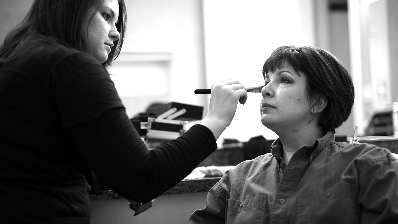 Devon and her make up artist.