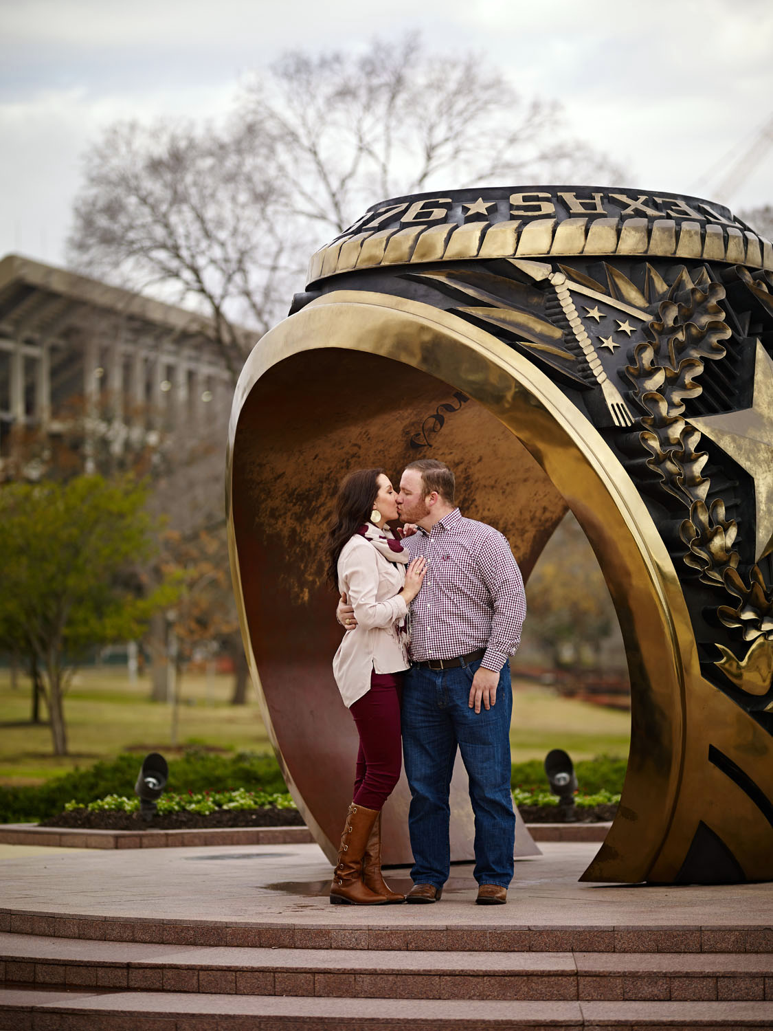"""'The Big Aggie Ring"""" at the Alumni Center at the A&M Campus in College Station, TX."""