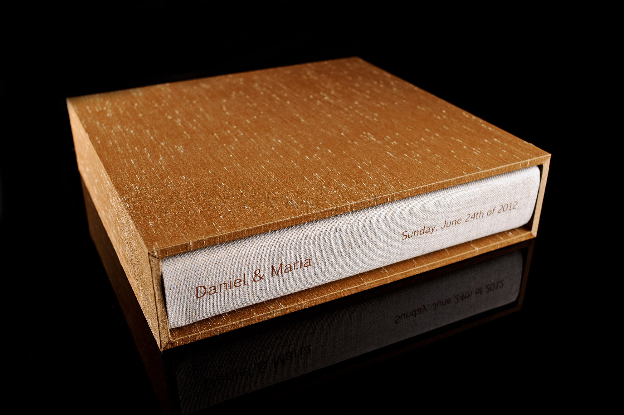 Wedding album made with cocoa shantung silk