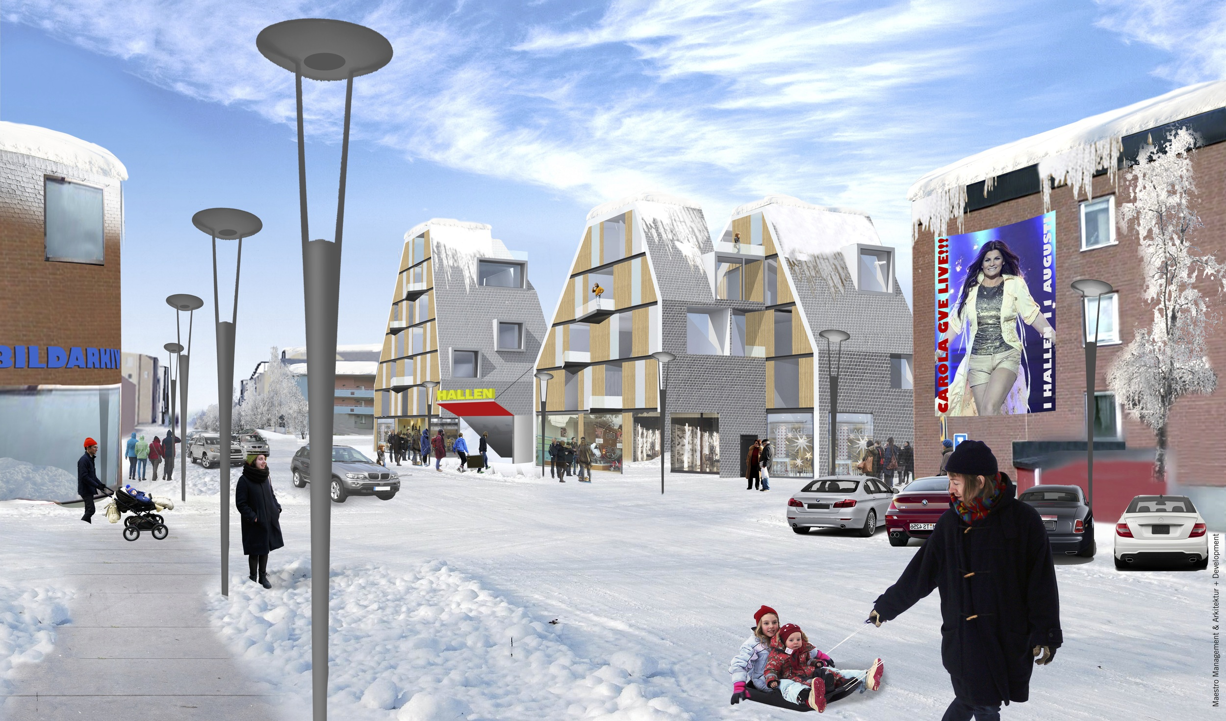 An ice arena can be put diagonally, with houses, shops and offices on the corners. Then the arena can be placed in the city center without creating dead facades or streets.