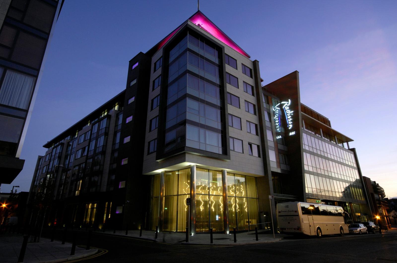 Radisson SAS hotel Dublin; colour changing uplighting to VIP bar balcony