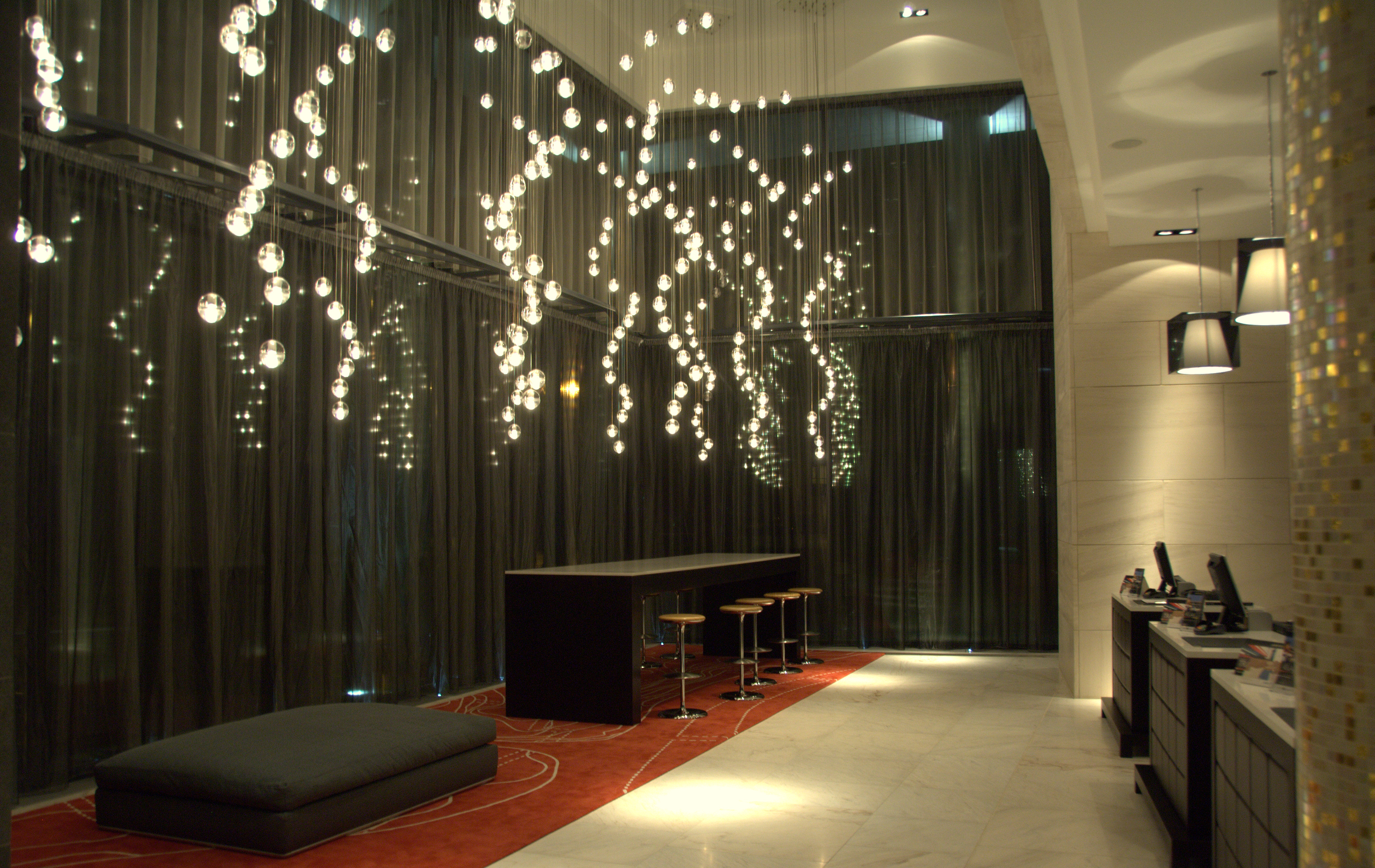 Radisson SAS Hotel Dublin; feature pendant installation