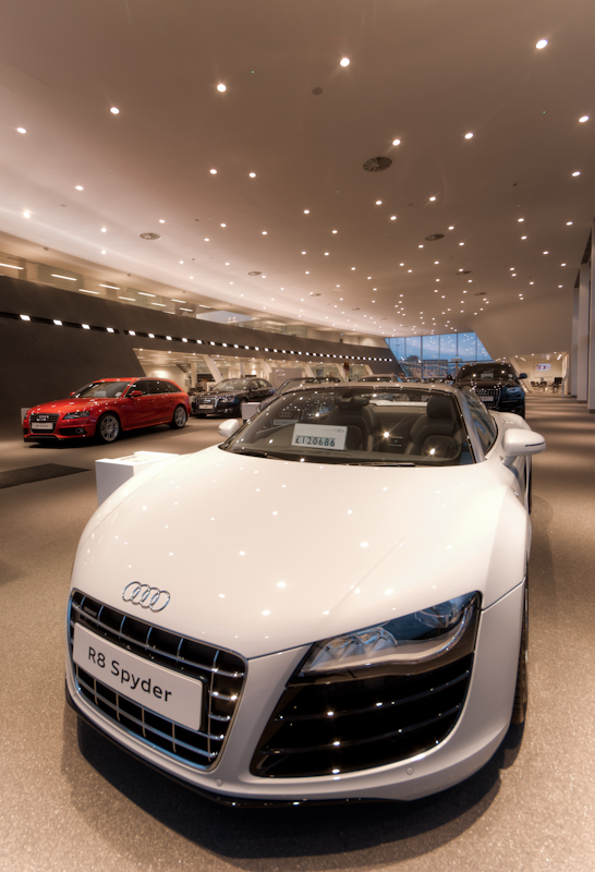Audi Terminal Belfast features downlights from iGuzzini and specially designed uplighters from Jordan Reflectors