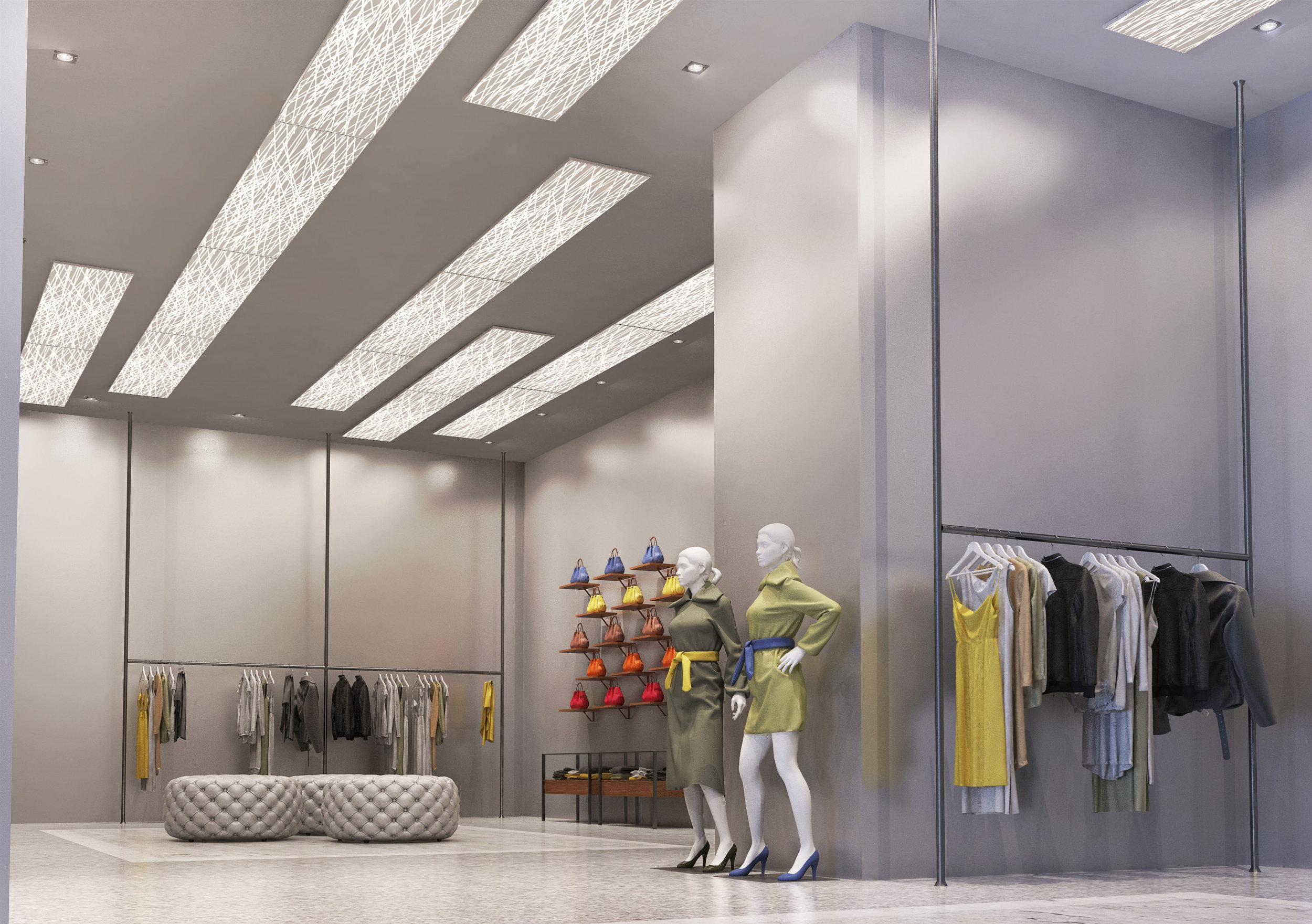 Archilumo panels with an etched pattern give an elegant appearance to this retail space