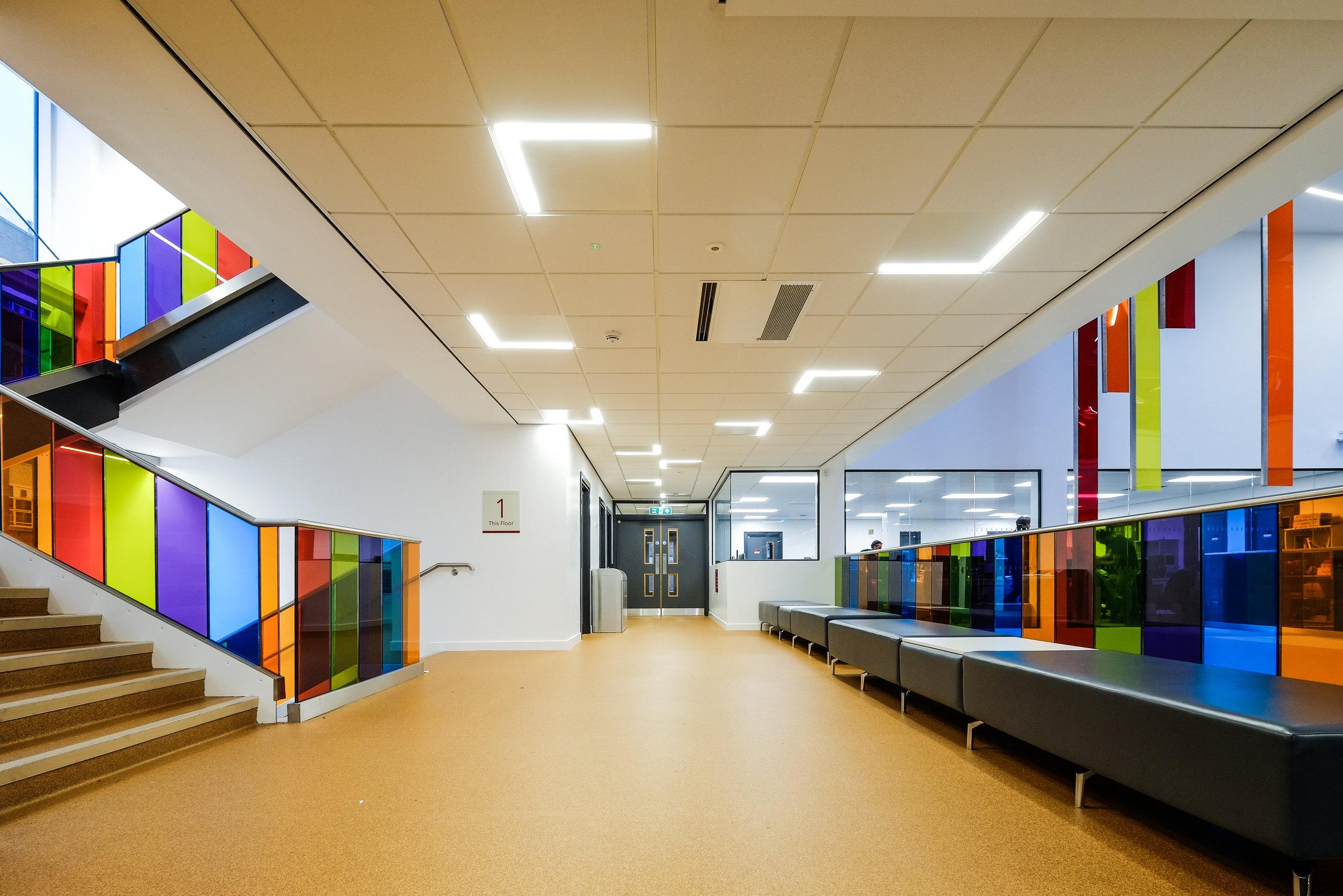 Bernard Crossland Building:  Bespoke modular luminaires for circulation spaces