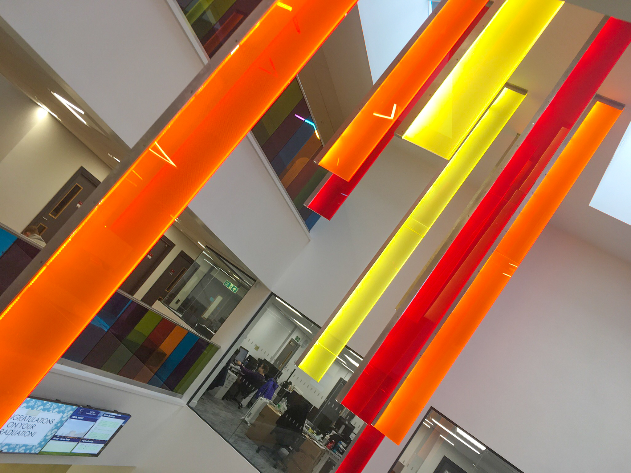 Bernard Crossland Building:  Bespoke internally illuminated fins