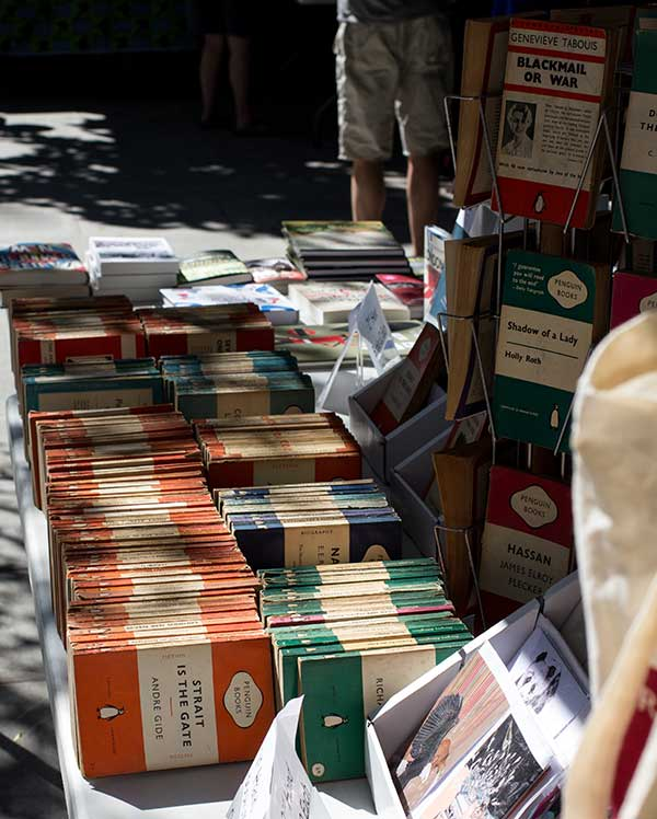 This is a new pop-up book market on Goldsmiths Row, a road which is now car-free!