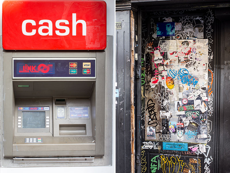 Cash and Stickers. Shoreditch and Brick Lane are the hotspots for the dreaded Link cash machines. The only 'link' provided is to a £2.50 charge...
