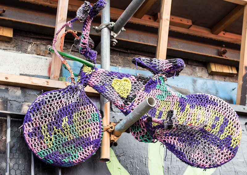 Yarn Bombing  on Scalter Street.