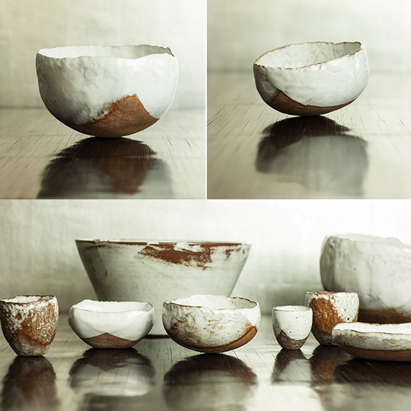 A selection of Snow White Rustic Ceramic bowls, cups and dishes. The dark wood offered great contrast to the lighter glaze.