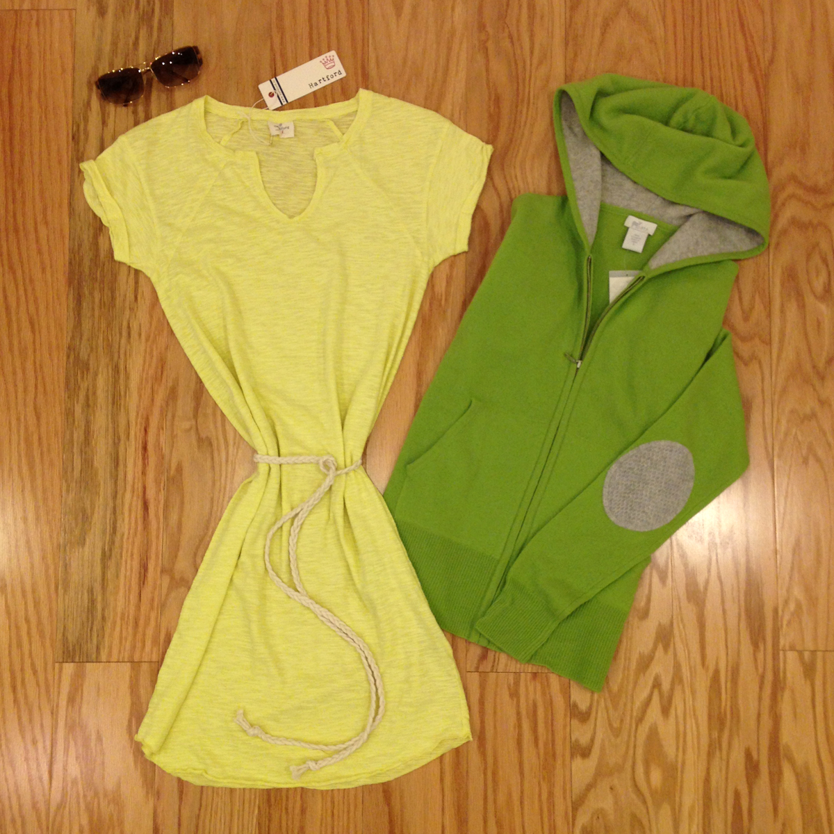{yellow cotton dress by Hartford, green cashmere zip-up hoodie by Oats, Maui Jim sunglasses}