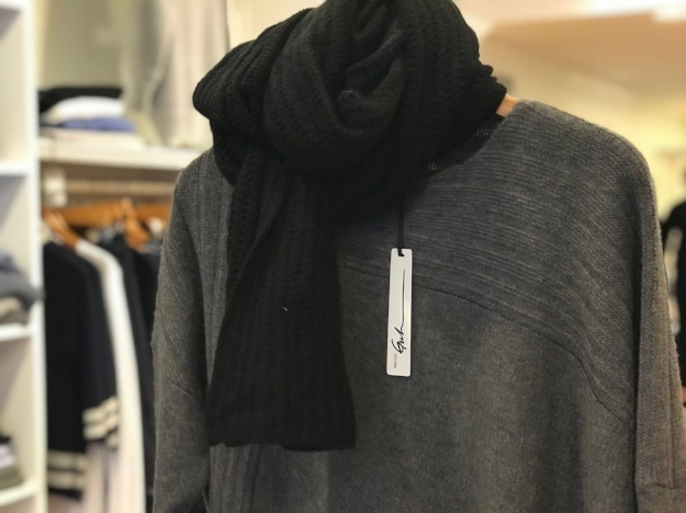 Paychi Guh cashmere scarf and cashmere sweater