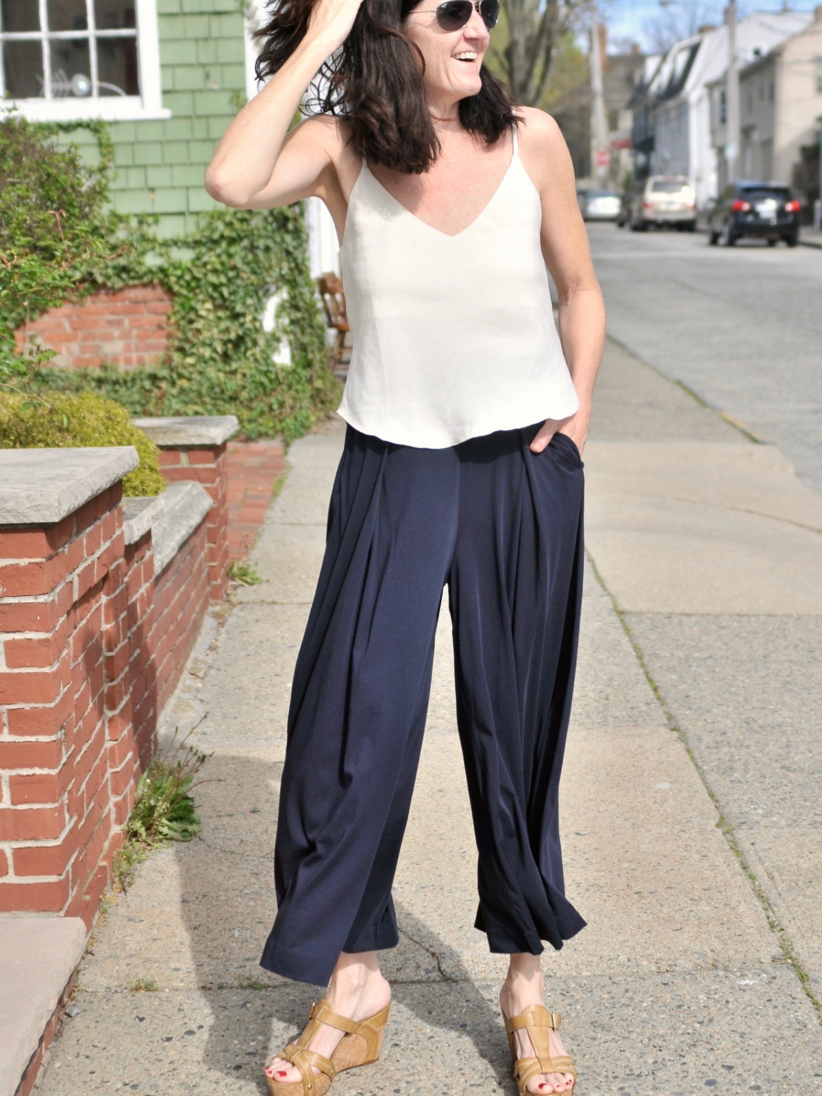 (above) 100% Pima Cotton Chantel Pant; paired with silk-linen camisole from OZMA