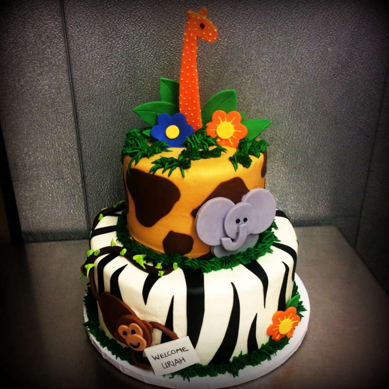 Jungle Themed Baby Shower Party Cake