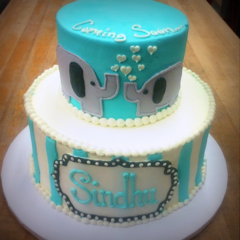 Baby Shower Party Cake with Elephants