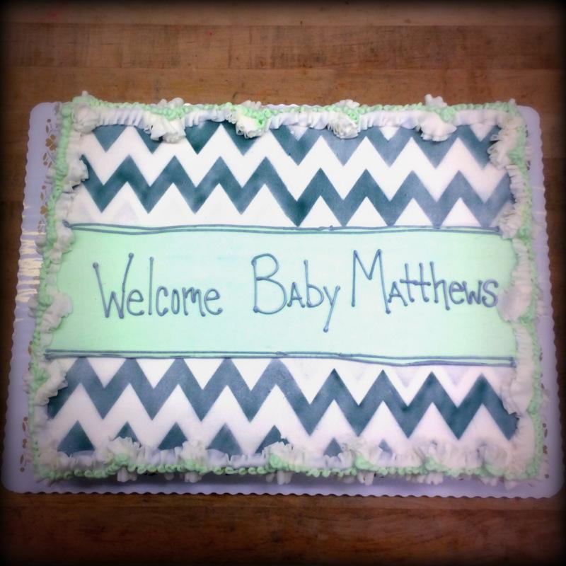 Baby Shower Cake with Airbrush Chevron