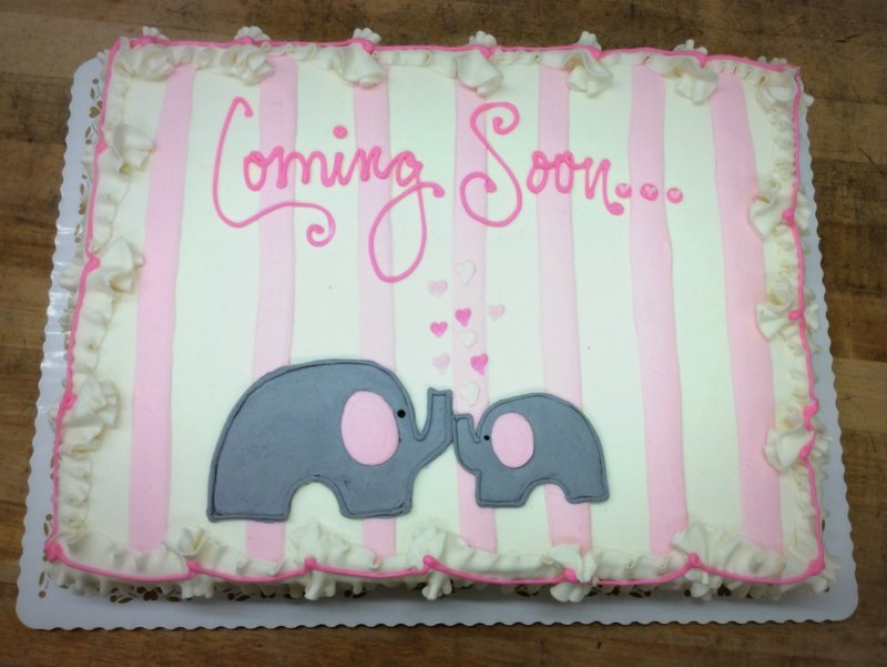 Sheet Cake with Grey Elephants and Pink Stripes