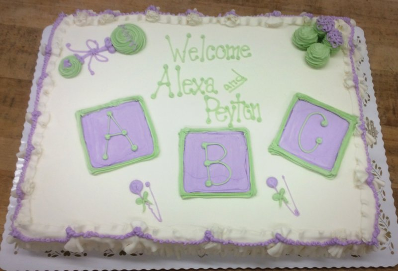 Baby Shower Sheet Cake with Green and Purple Blocks