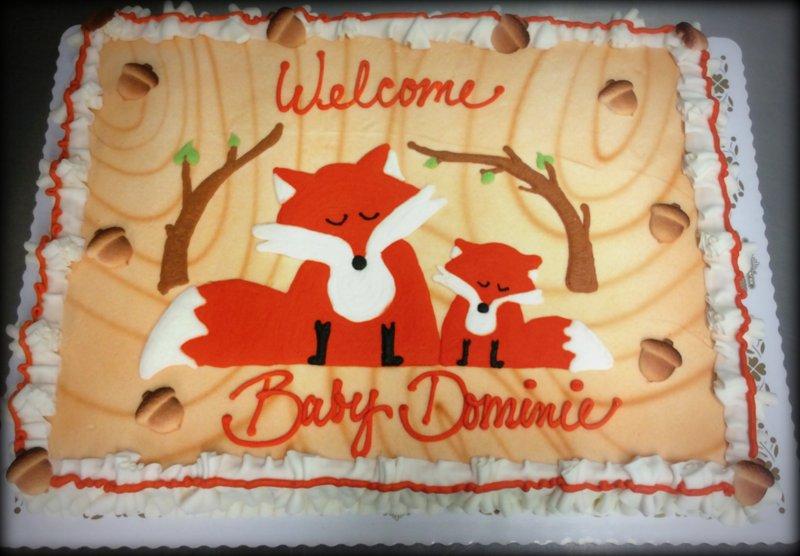 Fox and Woodland Baby Shower Sheet Cake