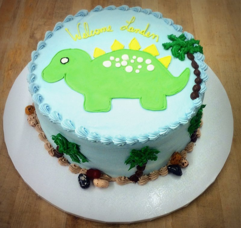 Round Cake with Piped Dinosaur