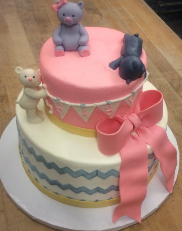 Baby Shower Party Cake with Fondant Bears