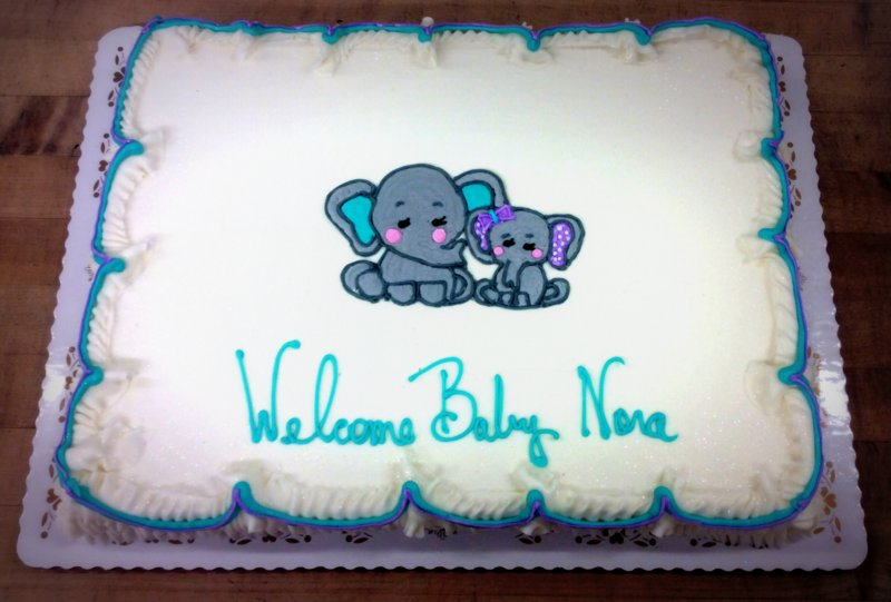 Baby Shower Cake with Two Elephants