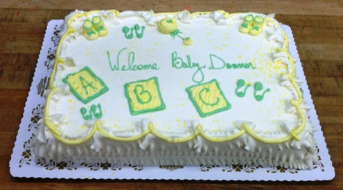Baby Shower Cake with Neutral Blocks