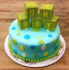 Baby Shower Cake with Fondant Blocks