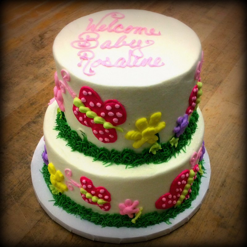 Party Cake with Flowers and Butterflies