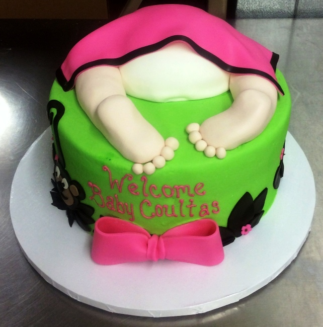 Pink and Green Baby Bum Cake