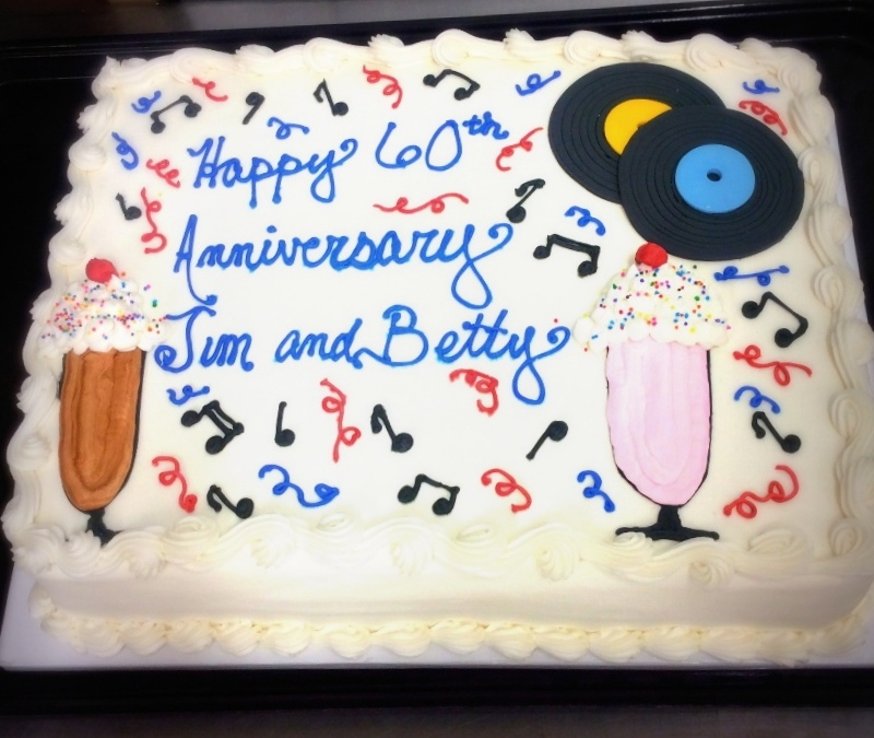 Anniversary Sheet Cake with Records
