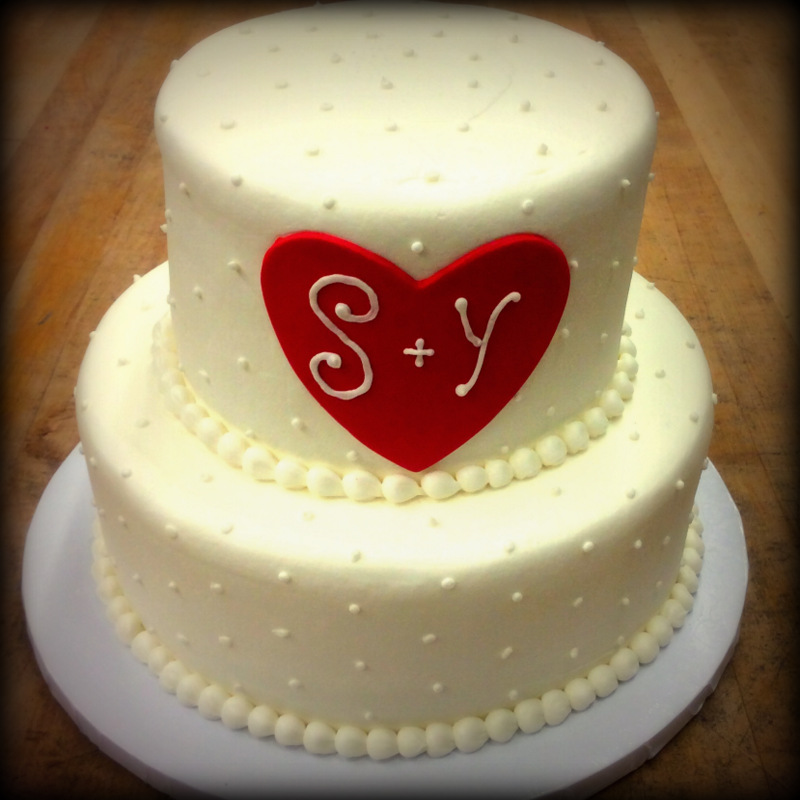 Party Cake with Red Heart