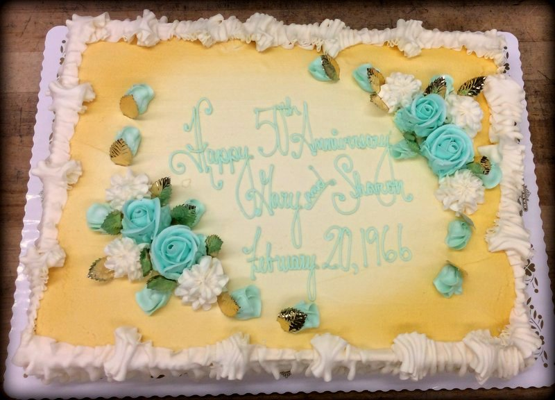 Blue and Gold Fiftieth Anniversary Cake