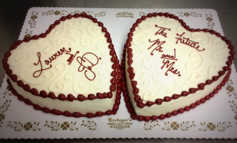 Two Heart Shaped Bridal Shower Cakes