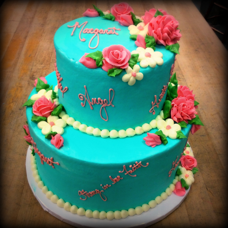 Party Cake with Roses and Daisies